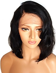 cheap -Remy Human Hair Full Lace Lace Front Wig Asymmetrical Kardashian style Brazilian Hair Wavy Body Wave Natural Black Wig 130% 150% 180% Density with Baby Hair Women Easy dressing Best Quality