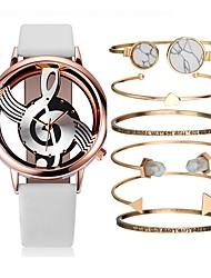 cheap -Couple's Wrist Watch Quartz Gift Set Leather Black / White Chronograph Creative Casual Watch Analog Minimalist Fashion - Black / Gold Gold / White Black / Rose Gold One Year Battery Life