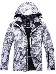 cheap -Men's Ski Jacket Winter Sports Windproof Rain Waterproof Warm Polyester Winter Jacket Top Ski Wear / Floral Botanical