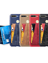 cheap -Case For Huawei Huawei P smart / Huawei Honor 7A / Huawei Honor 7C(Enjoy 8) Card Holder / with Stand / Ring Holder Back Cover Solid Colored Soft PU Leather