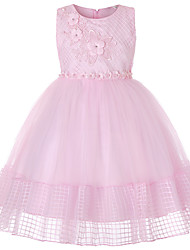cheap -Princess Short Length / Medium Length Pageant Flower Girl Dresses - Cotton / Organza / Tulle Sleeveless Strapless with Lace / Embroidery / Appliques