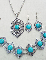cheap -Women's Turquoise Bridal Jewelry Sets Vintage Style Stylish Ethnic Earrings Jewelry Green / Blue For Wedding Party