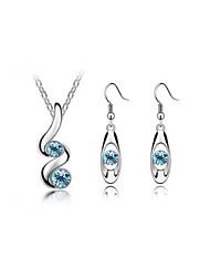 cheap -Women's Gemstone Drop Earrings Pendant Necklace Classic Ladies Stylish Dangling Elegant Rhinestone Earrings Jewelry White / Peach / Blue For Party Gift