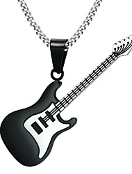 cheap -Men's Pendant Necklace Necklace Sculpture Music Guitar Stylish European Trendy Steel Stainless Black 60 cm Necklace Jewelry 1pc For Holiday Bar