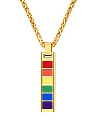 cheap -Men's Pendant Necklace Fancy Rainbow Fashion Stainless Steel Gold Black Silver 55 cm Necklace Jewelry 1pc For Gift Daily