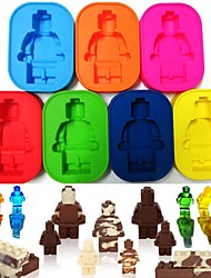cheap -Silicone Robot People Figure Toy Brick Man Ice Mold Chocolate Cake Maker