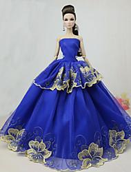 Недорогие -Платье куклы Вечеринка Для Barbie Цветочные ботанический Светло-желтый Светло-серый Белый Для Девичий игрушки куклы