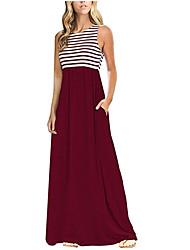 cheap -Women's Daily Basic Maxi Sheath Dress - Striped Print High Waist Cotton Blue Black Wine M L XL