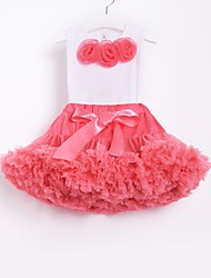 cheap -Kids Toddler Girls' Active Street chic School Beach Floral Bow Pleated Sleeveless Regular Cotton Clothing Set Red