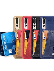 cheap -Case For Huawei Huawei P20 / Huawei P20 Pro / Huawei P20 lite Card Holder / Shockproof / with Stand Back Cover Solid Colored Hard PU Leather