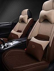 cheap -5 seats with two pillows and two waist pads beige coffee four seasons universal car Seat Cover/linen material/Airbag compatibility/fiadjustable and removable