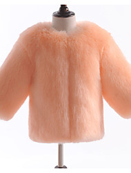abordables -Enfants Bébé Fille Basique Couleur Pleine Manches Longues Fausse Fourrure Veste & Manteau Rouge