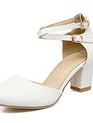 cheap -Women's Heels Chunky Heel PU Summer Black / White / Pink / Daily