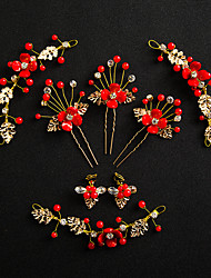 cheap -Women's White Hair Sticks forehead jewelry Earrings Set Vintage Style Gypsophila Ethnic Resin Earrings Jewelry Gold / Red For Wedding Party 1 set