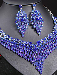 cheap -Women's Sapphire Crystal Statement Necklace Earrings Bridal Jewelry Sets Leaf Ladies Stylish Luxury Unique Design Dangling Elegant Rhinestone Earrings Jewelry Dark Blue / Rainbow / Red For Party Gift