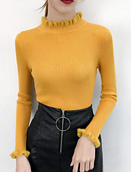 cheap -Women's Daily Solid Colored Long Sleeve Skinny Regular Pullover Sweater Jumper Cotton Black / White / Blushing Pink One-Size