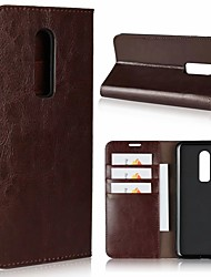 cheap -Case For OnePlus OnePlus 6 / One Plus 5 / OnePlus 5T Card Holder / with Stand Full Body Cases Solid Colored Hard Genuine Leather