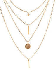 cheap -Women's Necklace Layered Star Ladies Simple European Fashion Alloy Gold 38 cm Necklace Jewelry 1pc For Causal Daily
