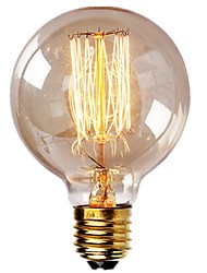 cheap -1pc Vintage Edison Bulbs with Spiral Filament 40W Dimmable E27 G95 Round Globe Large Antique Light Golden Finish Industrial Design Amber