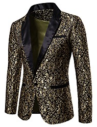 cheap -Men's Party / Club Luxury / Vintage Spring / Fall / Winter Regular Blazer, Floral Notch Lapel Long Sleeve Polyester Jacquard Gold / White / Black