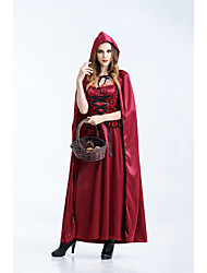 abordables -Déguisement Halloween Femme Le petit Chaperon rouge Robes Halloween Robe Manteau Halloween Mascarade Rouge Costumes Carnaval / Gants