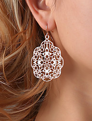 cheap -Women's Drop Earrings Hollow Out filigree Flower Ladies Ethnic Elegant Earrings Jewelry Black / Silver / Rose Gold For Ceremony Formal 1 Pair