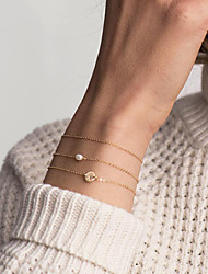 cheap -Women's ID Bracelet Single Strand Letter Ladies Trendy Fashion Elegant Copper Bracelet Jewelry Gold For Daily Work