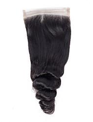Недорогие -Бразильские волосы / Бирманские волосы 4x4 Закрытие Волнистый Бесплатный Часть / Средняя часть / 3 Часть Корейское кружево Натуральные волосы Жен. Женский / Лучшее качество / Горячая распродажа