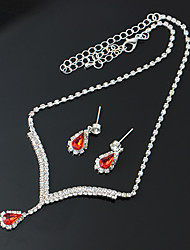 cheap -Women's AAA Cubic Zirconia Hoop Earrings Pendant Necklace Bridal Jewelry Sets Tennis Chain Pear Ladies Romantic Elegant Rhinestone Imitation Diamond Earrings Jewelry Red / Blue For Wedding Ceremony 1