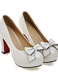 cheap -Women's Heels Chunky Heel PU Spring Black / White / Pink / Daily