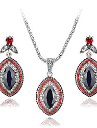 cheap -Women's Gemstone Bridal Jewelry Sets Classic Ladies Stylish Luxury Dangling Silver Plated Earrings Jewelry Red / Green For Party Gift