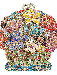 cheap -Women's Crystals / Hollow-out Alloy Evening Bag Rhinestone Crystal Evening Bags Floral / Botanical Blushing Pink / Gold / Light Gold / Fall & Winter