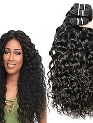 cheap -3 Bundles Brazilian Hair Water Wave Human Hair Unprocessed Human Hair Headpiece Natural Color Hair Weaves / Hair Bulk Extension 8-28 inch Natural Color Human Hair Weaves Waterfall Cosplay Easy / 8A