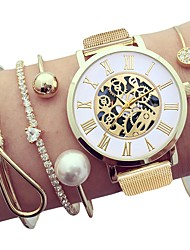 cheap -Women's Wrist Watch Gold Watch Quartz Gift Set Stainless Steel Silver / Gold Chronograph Casual Watch Cool Analog Ladies Fashion Skeleton - Gold Silver One Year Battery Life