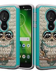 Недорогие -Кейс для Назначение Motorola MOTO G6 / Moto G6 Play / Moto E5 Play Защита от удара / Стразы / С узором Кейс на заднюю панель Сова / Стразы Твердый ПК