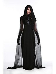 cheap -Witch Dress Cosplay Costume Adults' Women's Mesh Halloween Halloween Festival / Holiday Polyster Black Female Carnival Costumes Voiles & Sheers Halloween