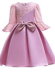 cheap -Kids Girls' Sweet Solid Colored Short Sleeve Dress Blushing Pink