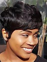 Недорогие -человеческие волосы Remy Лента спереди Парик Стрижка боб Стрижка каскад Боковая часть стиль Бразильские волосы Естественные кудри Естественные волны Нейтральный Парик 130% Плотность волос