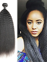 cheap -1 Bundle Indian Hair kinky Straight Remy Human Hair Human Hair Extensions 10-26 inch Human Hair Weaves Soft Best Quality New Arrival Human Hair Extensions / 10A
