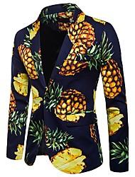 cheap -Men's Holiday / Going out / Beach Basic / Street chic Spring / Fall Regular Blazer, Fruit Pineapple Notch Lapel Long Sleeve Polyester Print White / Navy Blue / Light Blue