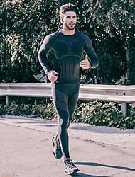 Недорогие -SANTIC Муж. Длинный рукав Белье для велоспорта Черный Сплошной цвет Велоспорт Наборы одежды Сохраняет тепло Дышащий Влагоотводящие Виды спорта Эластан Сплошной цвет Горные велосипеды Одежда
