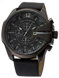 Недорогие -Муж. Нарядные часы Авиационные часы Японский Кварцевый Крупногабаритные Нержавеющая сталь Кожа Черный / Серебристый металл / Коричневый Защита от влаги Секундомер Крупный циферблат Аналоговый