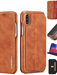 cheap -lc.imeeke Leather Case For Apple iPhone 12 11 Pro Max XS / iPhone XR / iPhone XS Max Card Holder / with Stand / Flip Full Body Cases Solid Colored Hard Genuine Leather