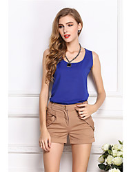 cheap -Women's Daily Work Basic / Street chic Blouse - Solid Colored Purple / Summer