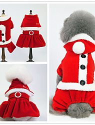 cheap -Dogs Cats Tuxedo Dog Clothes Red+Black White Christmas Costume Corgi Pug Bichon Frise Faux Fur Canvas Flannel Fabric Solid Colored Minimalist S M L XL XXL