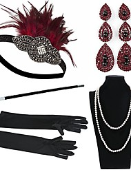 cheap -The Great Gatsby Charleston Vintage 1920s Roaring 20s Costume Accessory Sets Gloves Necklace Flapper Headband Women's Feather Costume Head Jewelry Earrings Pearl Necklace Black / Red Vintage Cosplay
