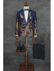 cheap -Patterned Tailored Fit Cotton / Polyester Suit - Slim Notch Single Breasted One-button / Suits