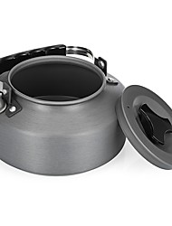 cheap -Camping Pot with Pan 1.1 L Single One-piece Suit Back Country Mountaineering Travel for 2 person Hard Alumina Aluminium Outdoor Fishing Hiking Camping Black+Sliver