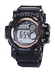 Недорогие -Муж. Спортивные часы электронные часы Цифровой силиконовый Черный 30 m Защита от влаги ЖК экран Фосфоресцирующий Цифровой Винтаж Мода - Зеленый Синий Розовое золото
