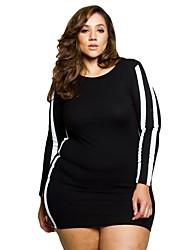 cheap -Women's Plus Size Club Elegant Puff Sleeve Mini Skinny Bodycon Dress Print High Waist Crew Neck Fall Black Red XXXL 4XL XXXXXL / Sexy